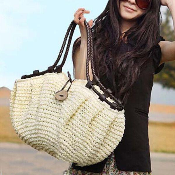 Estilo do saco das mulheres bolsas moda 2016 bolsas de verão bolsa De Palha tecida saco da praia da palha bolsas de estilistas famosos marca de alta qualidade