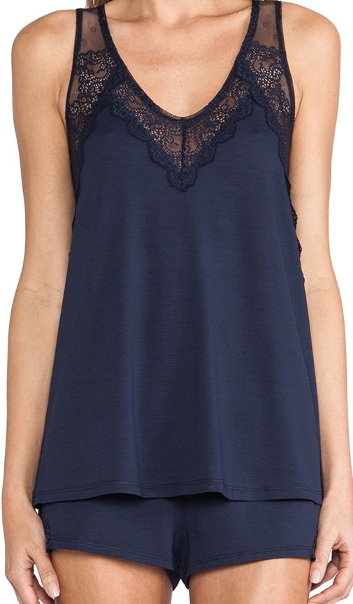 Only Hearts So Fine Lace A Line Tank in Navy | REVOLVE