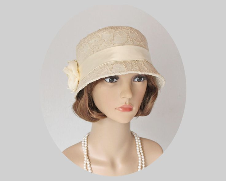 Beige clche hat with cotton and lace, Great Gatsby hat, high tea hat, 1920s flapper hat, Downton abbey hat, summer cloche hat, cream cloche by HouseOfRecollections on Etsy https://www.etsy.com/listing/520886709/beige-clche-hat-with-cotton-and-lace