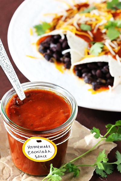 Red Enchilada Sauce        2 Tbsp. vegetable or canola oil      2 Tbsp. flour      4 Tbsp. chili powder      1/2 tsp. garlic powder      1/2 tsp. salt      1/4 tsp. cumin      1/4 tsp. oregano      2 cups chicken broth  This will need to be pressure canned @ 10 pds pressure for 90 min.for pints.for long term storage if you want to double or triple it like me.(due to chicken stock)