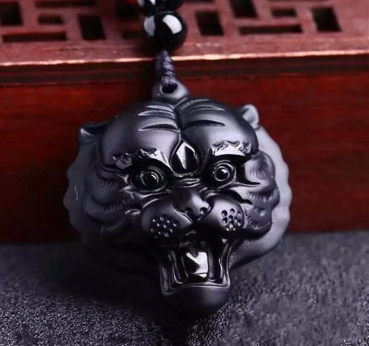 Natural Obsidian Tiger Head Lucky Amulet Pendant + Beads Necklace