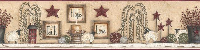 Primitive FAITH HOPE LOVE SAMPLER WALLPAPER BORDER Country Star Willow Tree  #Unbranded