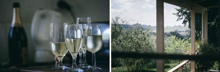Bubbles and Views from one of the cottages.  Beautiful, soft feels and complimentary tones. Bringalbit Homestead.  http://shaunguestphotography.com.au/portfolio/bringalbit-wedding/