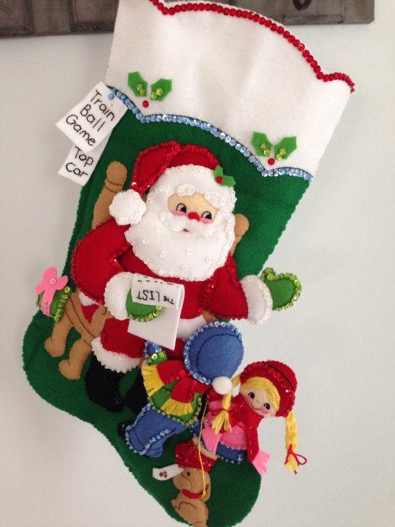 Finished Bucilla 18 Felt Christmas Stocking by JillianBCreations