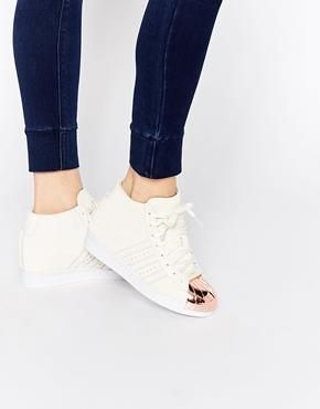 adidas Originals Off White Suede Superstar Up Metal Toe Cap Sneakers rose gold