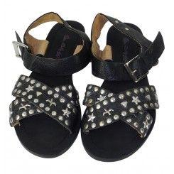 Miss Selfridge Black Leather Studded Flat Sandals