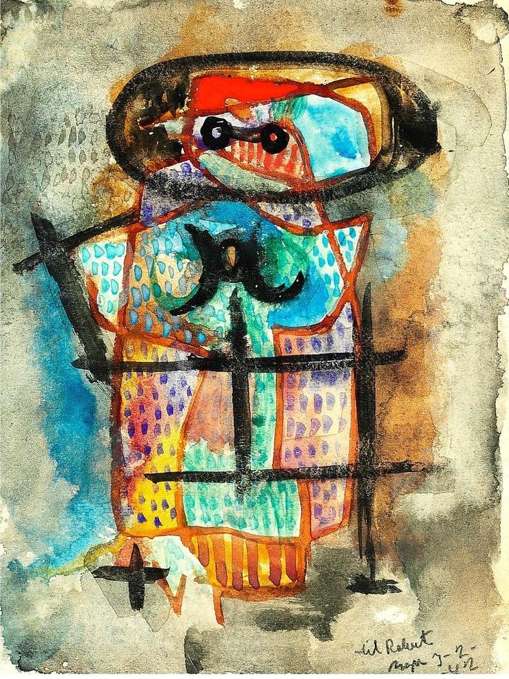 Asger Jorn-Little Figure, watercolour on paper, 15,5x12cm. Asger Oluf Jorn was a Danish painter, sculptor, ceramic artist, and author. He was a founding member of the avant-garde movement COBRA and the Situationist International.