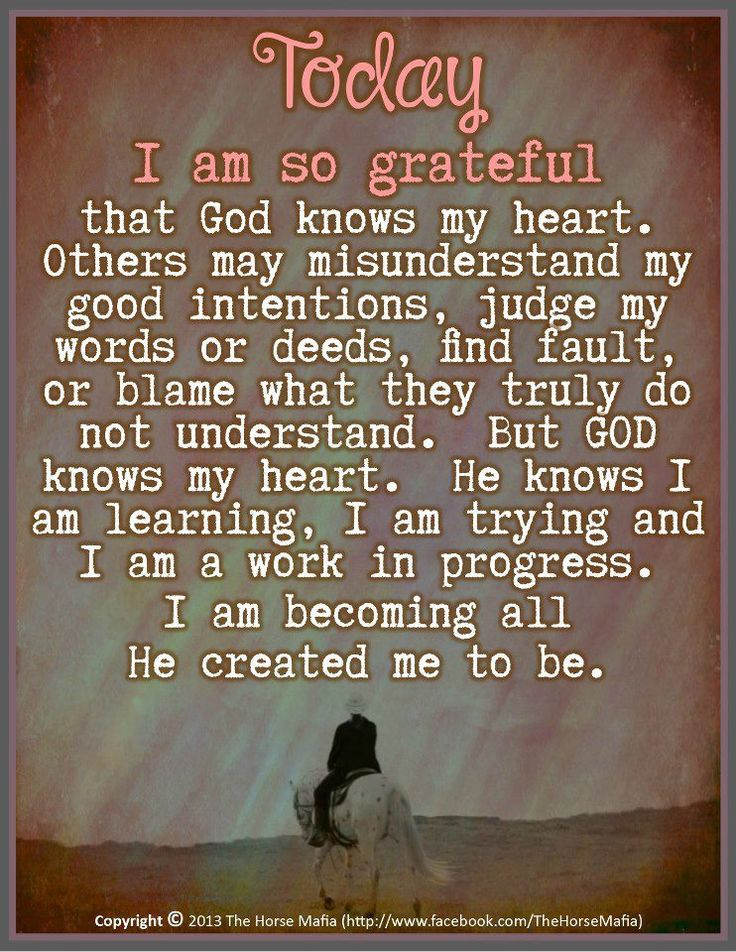♥♥♥Today I am so grateful that God knows my heart. Others may misjudge my intentions, judge my words and deeds, find fault, or blame what they truly do not understand. But God knows my heart. He knows I am learning, I am trying, I am a work in progress. I am becoming all He created me to be.♥♥♥