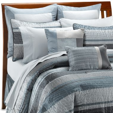 Royal Blue and gray comforter set queen  the smoothing and cool stripes in the blue and grey