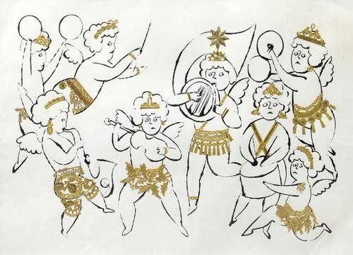 Andy Warhol (1928-1987) The Angel's Orchestra Collage of die-cut gold card and ink on paper, executed circa 1957, with the rubber stamps of the Andy Warhol Foundation and the Andy Warhol Estate verso