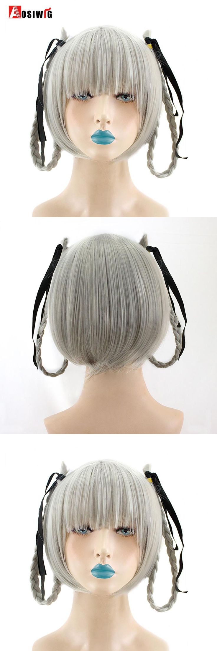 AOSIWIG Short Straight Hair Silver Wigs Double Braiding Hair Extensions Wigs Heat Resistant Synthetic Cosplay Wigs