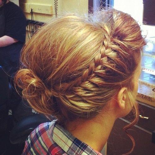 one sided french braid w/ messy bun