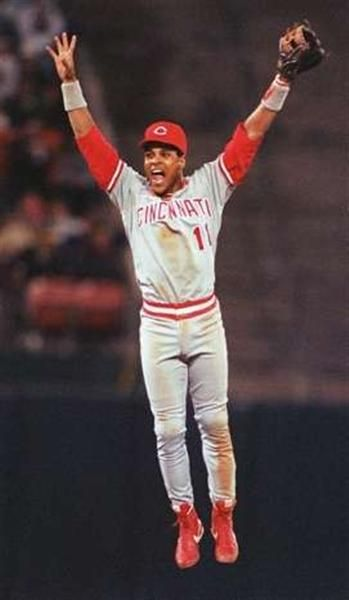 From the #Cincinnati #Enquirer - Cincinnati #Reds Shortstop Barry Larkin celebrates a 1990 World Series win