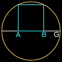 Phi, Golden Ratio, construction with a square in a circlensert a square inside a semi-circle.  The ratio of AG to AB is Phi