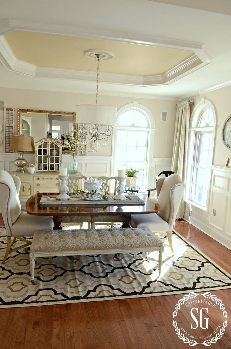 from the tray ceiling to the awesome rug, this room is so beautiful.  NEW DINING ROOM RUG