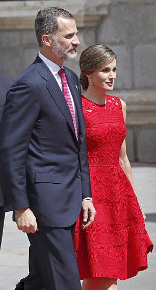 Queen Letizia of Spain wowed in a red lace gown as she stepped out in Madrid for the 40th anniversary of the 1977 democratic election.    ...