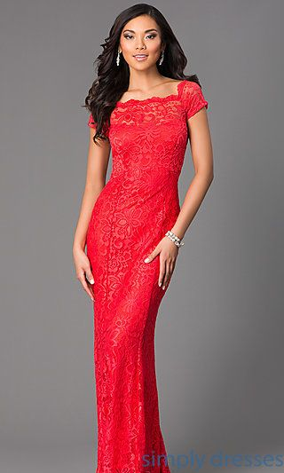 Long Lace Short Sleeve Dress at SimplyDresses.com