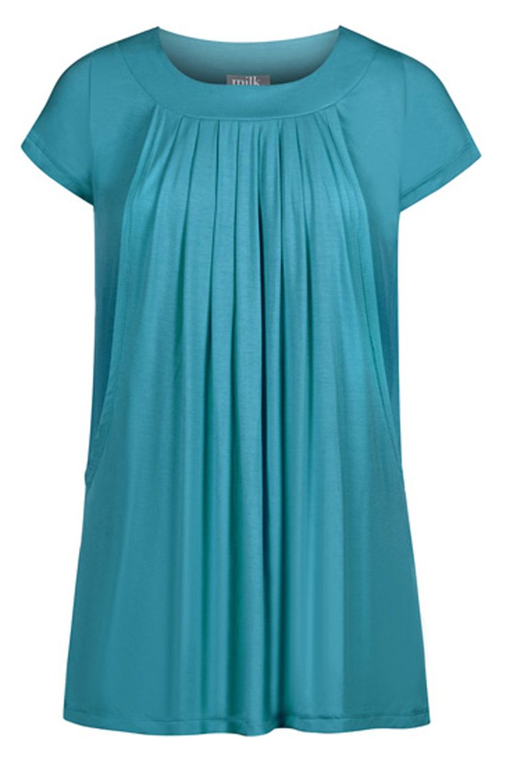 Pleated Flowy Nursing & Maternity Top {Teal} - milkandbaby.com