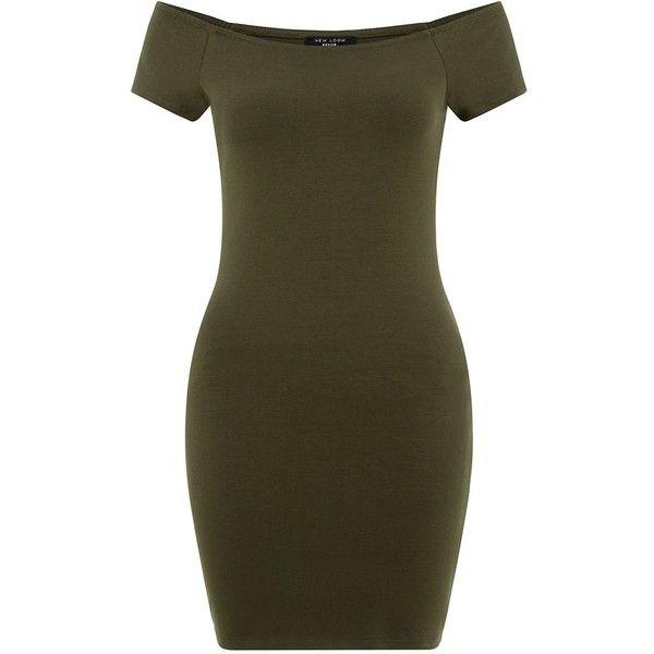 Petite Khaki Bardot Neck Bodycon Dress ($16) ❤ liked on Polyvore featuring dresses, petite, short sleeve mini dress, short-sleeve dresses, summer dresses, petite dresses and short sleeve summer dresses