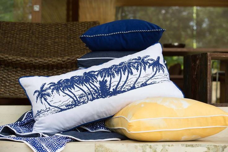 Coca Mojo Coconut Palms in blues celebrating the  art of Javanese Batik at the General Store Furniture Co