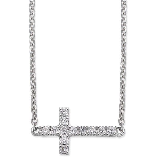 Diamond Side Cross Pendant Necklace (1/10 ct. t.w.) in 14k White Gold ($900) ❤ liked on Polyvore featuring jewelry, necklaces, white gold, white gold side cross necklace, pendant necklaces, 14k white gold necklace, round diamond necklace and white gold sideways cross necklace