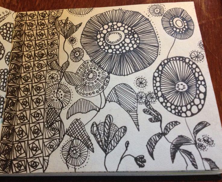 Intuitive flower design, B&W