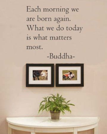 Amazon.com: Each morning we are born again. What we do today is what matters most. Buddha Vinyl wall art Inspirational quotes and saying home decor decal sticker: Home  Kitchen