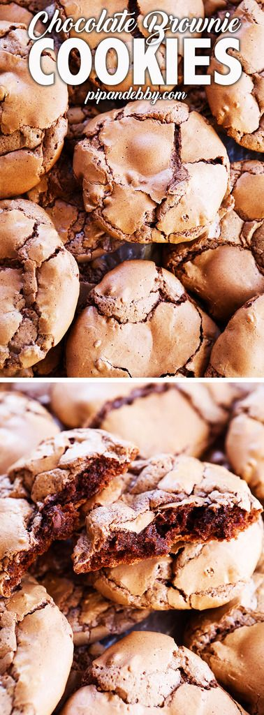 Chocolate Brownie Cookies | If you can't decide between cookies and brownies, you've found the perfect dessert. These Chocolate Brownie Cookies are chewy, crispy, crinkly, chocolatey, unique and absolutely irresistible! #cookies #brownies #dessert