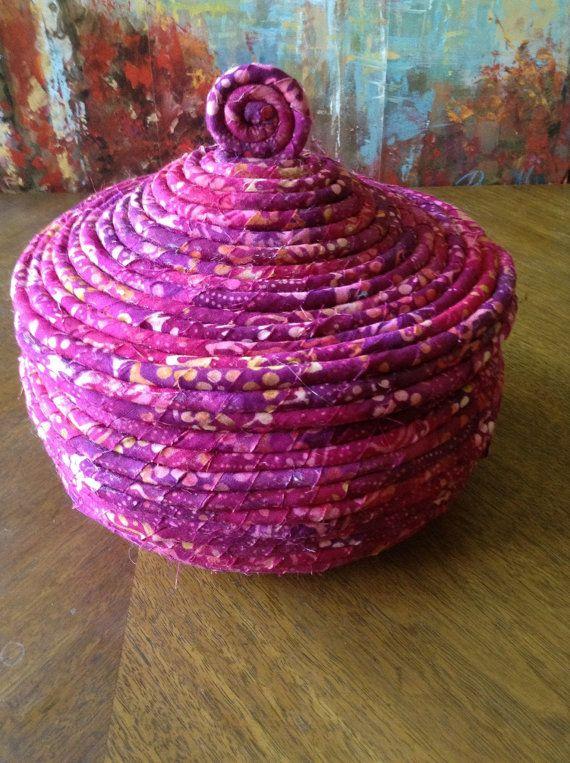 5 X 6 colorful basket of magentaredgold tone Batik by FLFCrafts, $25.00