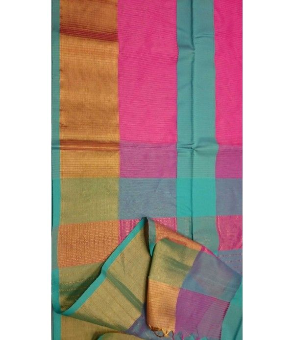Pink Chanderi Handloom Silk Saree--------------------------------------------------------------------------This pink chanderi handloom silk saree  goes flawless for any special gathering to attract the audience & cater the spell of sheer elegance.------------------------------------Sarees from Luxurionworld -