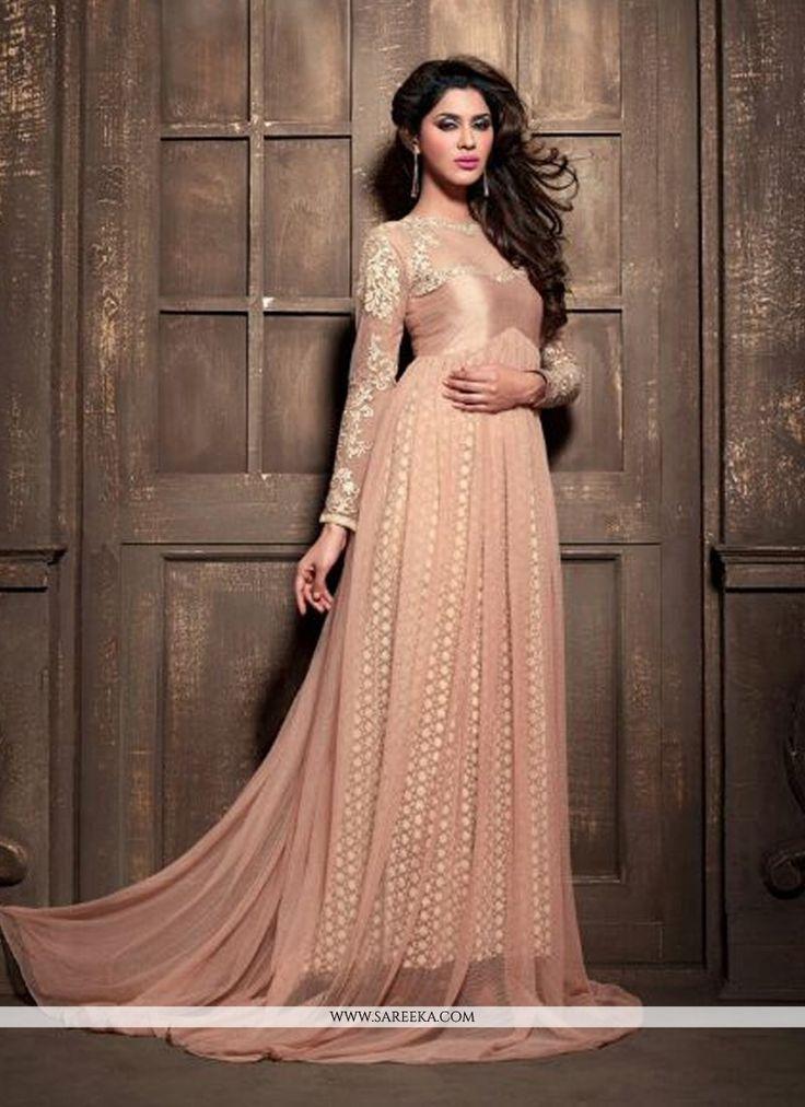 Glorious Peach Net Floor Length Anarkali Suit
