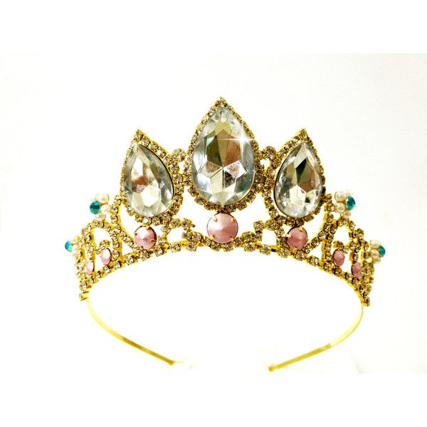 SALE Rapunzel white sparkle Tiara,Rapunzel Crown, Tangled Crown,... ($46) ❤ liked on Polyvore featuring costumes, gold costume, princess costumes, princess halloween costumes, adult halloween costumes and gold halloween costumes