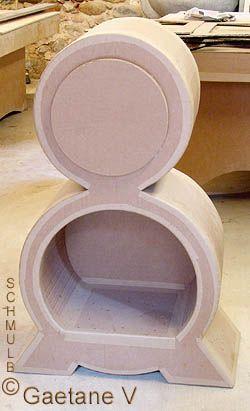 Meuble carton forme rondes