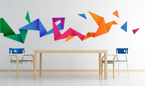 Origami Bird Decal - Origami Stickers - Colored Origami Bird Decal <-----------------------------------LINKS-----------------------------------> To view more Art that will look gorgeous on Your Walls Visit our Store: https://www.etsy.com/shop/homeartstickers For more Urban Stickers visit our URBAN SECTION: https://www.etsy.com/shop/homeartstickers?section_id=15993557 <-----------------------------------PRODUCT---------------------------...