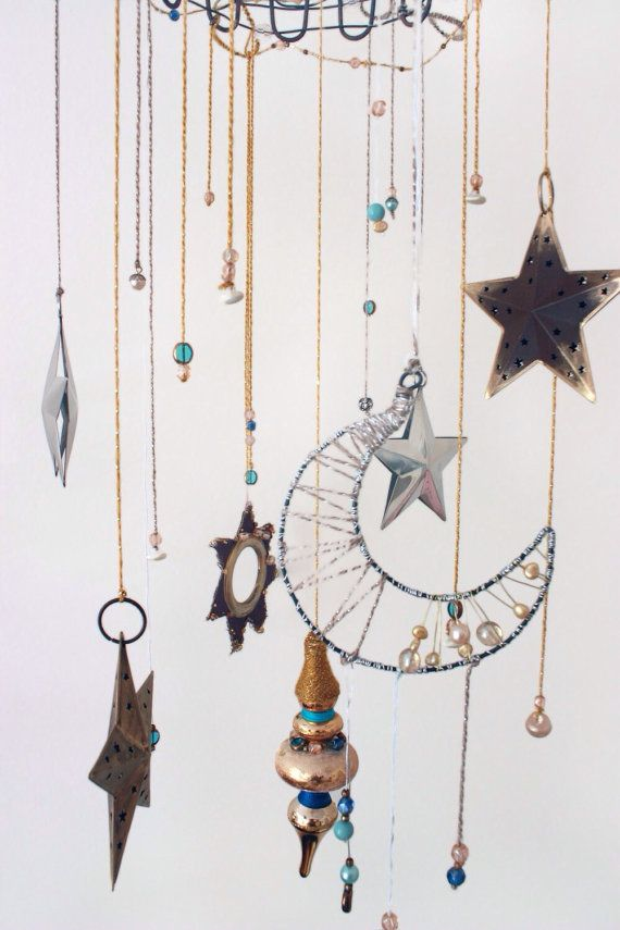 Moon and Stars Custom Mobile // Silver and Gold Baby Children's Decor // Boho Gender Neutral Nursery