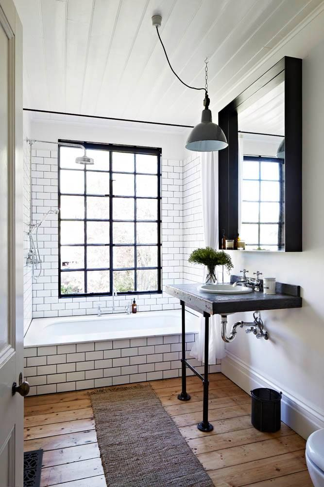 Tradition bathroom // Twists of industrialism and original wooden floorboards.