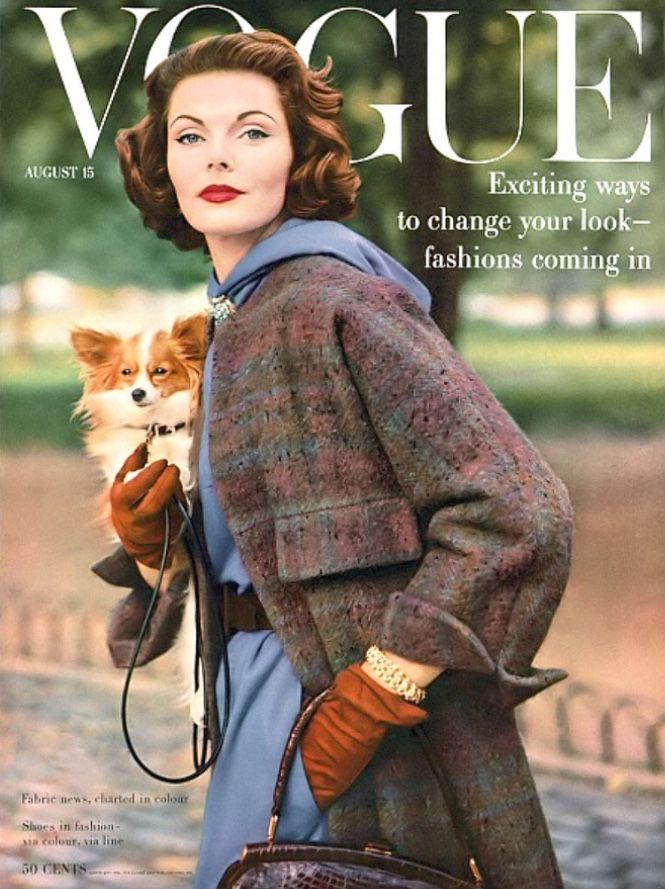 Virginia Taylor in wool jersey dress and tweed coat by Anna Miller, jewelry by David Webb, cover by Frances McLaughlin-Gill, Vogue, August 15, 1956