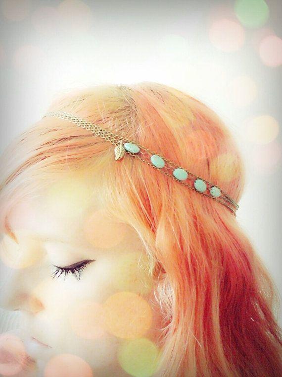 Boho Chain Headpiece Hairband Bohemian Bronze by BeUniqueJewellery, £10.00