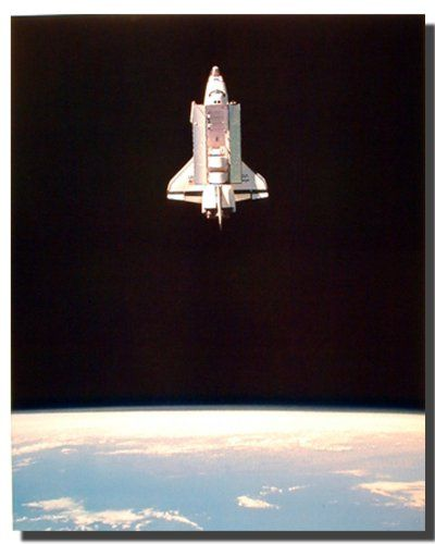 Extremely amazing! This poster displays the image of a space shuttle in space which is sure to grab lot of attention. The Space Shuttle made traveling in space like flying a plane. Space travel was no longer limited to trained tronauts. The Space Shuttle has become the major launching vehicle for NASA. This poster will add a charm to any space and sure to attract lot of attention. Grab this poster for its durable quality and perfect color accuracy.