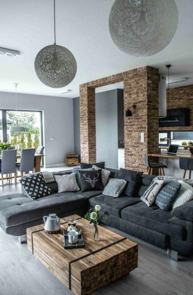 inneneinrichtung ideen wohnideen wohnzimmer graues ecksofa