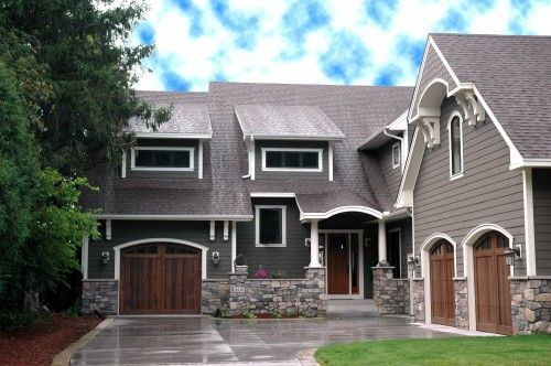 color scheme, wood doors with gray blue siding and stone veneer: House Ideas, Garage Doors, Dream House, Exterior House, Exterior Colors, House Colors, House Exterior