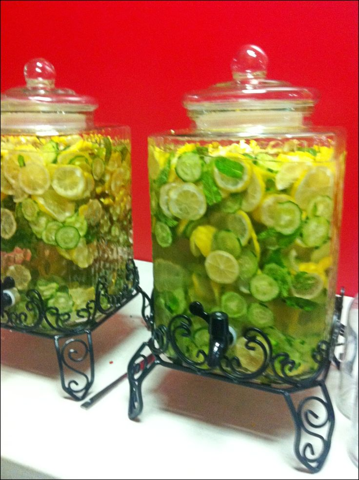 Lemon, mint, and cucumber water! Light and refreshing! #ladies #luncheon