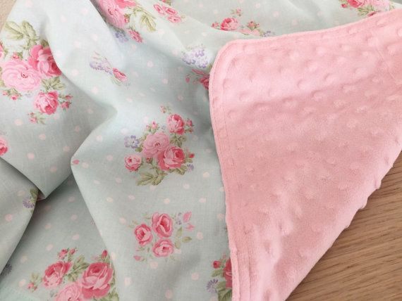 Hey, I found this really awesome Etsy listing at https://www.etsy.com/listing/256951326/baby-blanket-pink-shabby-chic-flowers