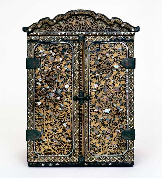 Portable Shrine, Japan, ca. 1597, lacquer, wood, gold, shell, canvas, pigment