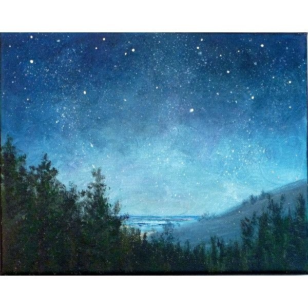 Night sky small stars landscape painting 8x10, astronomy, starry night (£51) ❤ liked on Polyvore featuring backgrounds