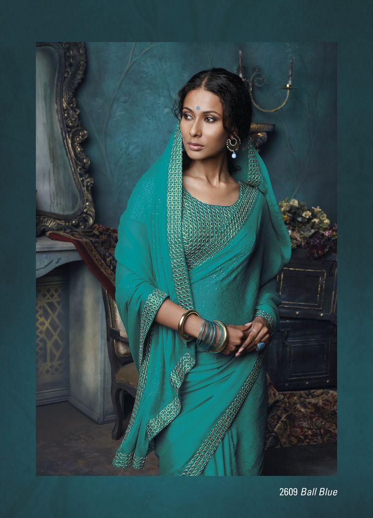 Chiffon Material Sea blue color saree  embroidered in border
