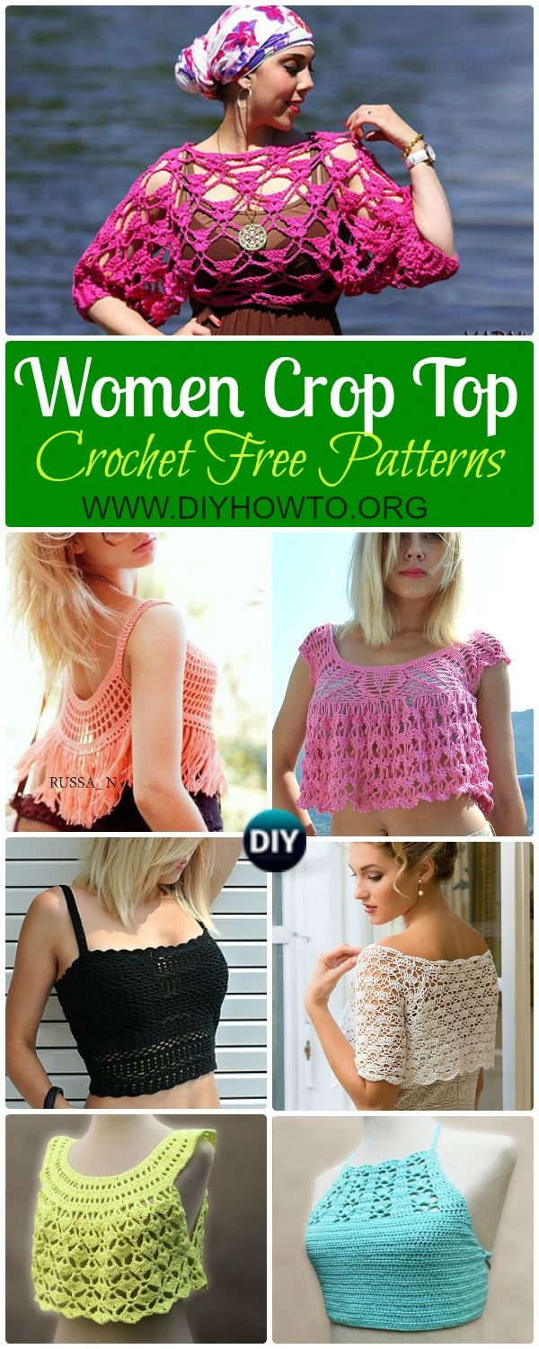 Collection of Crochet Women Summer Crop Top Free Patterns:  Fringed Tops, Beach Top, Bra Tops, Sleeveless Tops via @diyhowto
