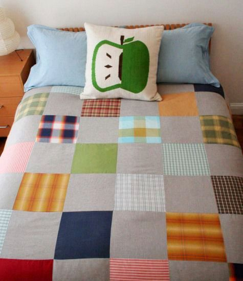 "how to turn old plaid shirts into a ""vintage quilt"" duvet cover..........."