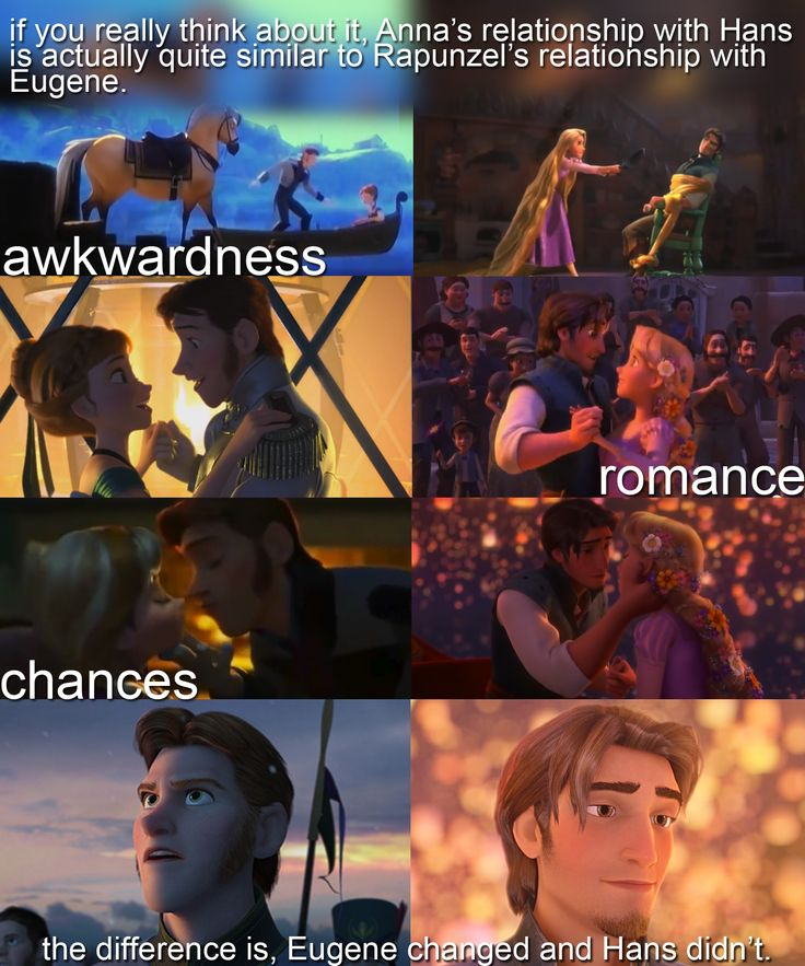 Eugene and Hans changed drastically in quite different directions. And Eugene didn't kiss Rapunzel, for her. It's hard to understand, but he wanted to pay back his debts, so he'd be good enough to marry this amazing woman. While Hans just stopped so he could reveal his plan to kill Elsa and Anna and take over the kingdom.