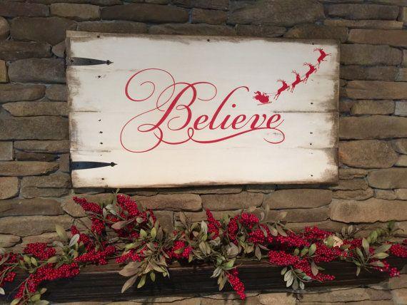 Reclaimed Wood Sign Believe Believe Christmas by DorwayDesigns